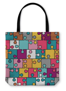 Tote Bag, Colorful Puzzle Pattern - Bizzy Lizzy