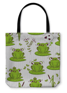 Tote Bag, Pattern Frogs - Bizzy Lizzy