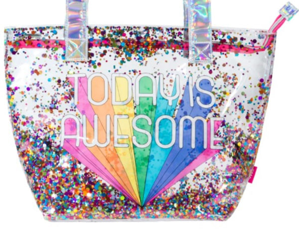 "Girls Multi-Use Double Layer Awesome Confetti PVC Fashion Tote – Large 17"" x 13"" Size - Bizzy Lizzy"