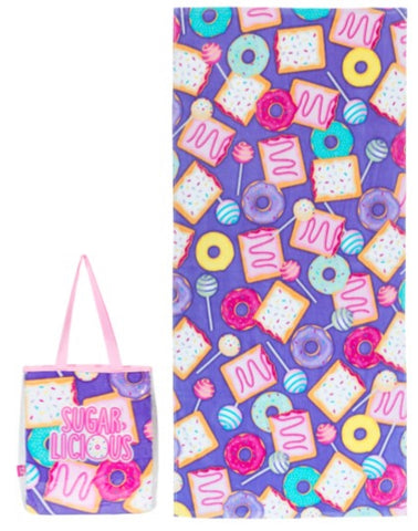 Girls Deluxe Cotton Terry Velour Beach Towel and Waterproof Tote Bag Set – Sugarlicious Design