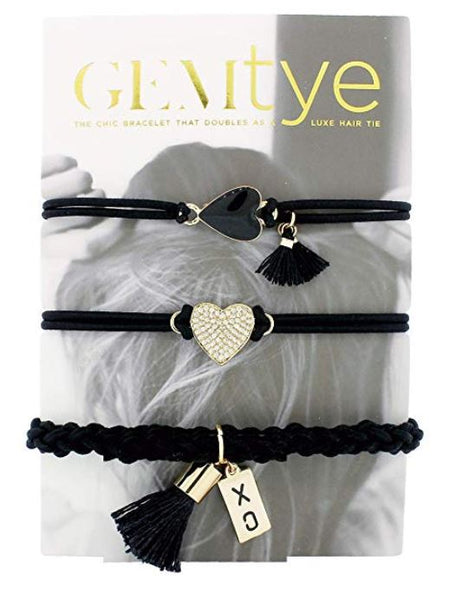Gemtye Hair Ties – Bracelets, Two of Hearts , Pack of 3 - Bizzy Lizzy