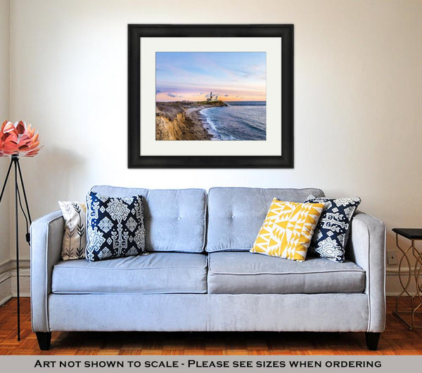 Framed Print, Long Beach MontaUK Point Light Lighthouse Long Island New York - Bizzy Lizzy