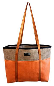 "Orange Tote Bag - Jute Tote 18"" x 12"" x 4.5"" - Bizzy Lizzy"