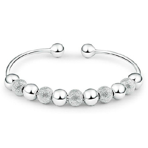 Silver Ball Cuff Bangle - Bizzy Lizzy