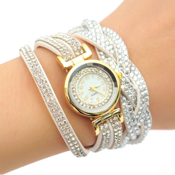 Crystal Wrap Quartz Watch, Available in Silver, Rose Gold, Yellow Gold and White - Bizzy Lizzy