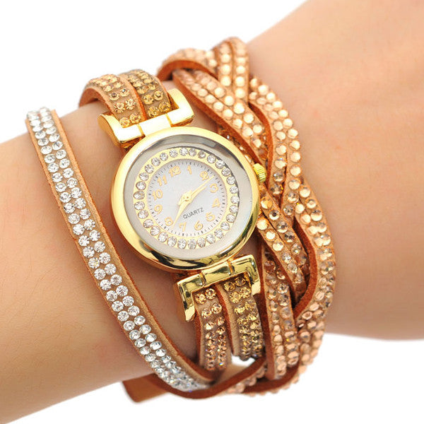 Crystal Wrap Quartz Watch, Available in Silver, Rose Gold, Yellow Gold and White