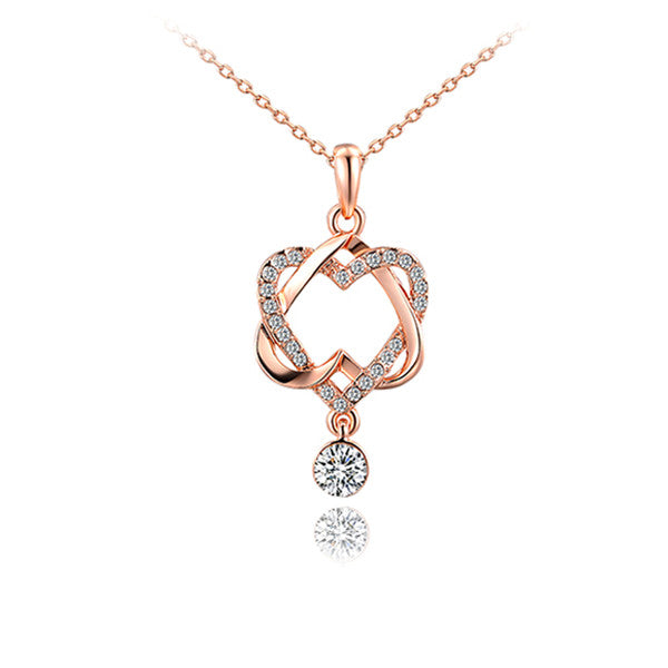 Elegant Heart Rose Gold Pendant - Bizzy Lizzy