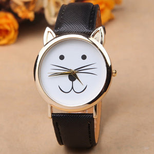Cute Cat Face Wrist Watch; Choose from 6 Colors; An Adorable Accessory for Cat Lovers - Bizzy Lizzy