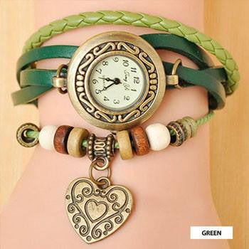 Boho Vintage Wrap Watch; Heart Shaped Charm; Vegan Leather - Bizzy Lizzy