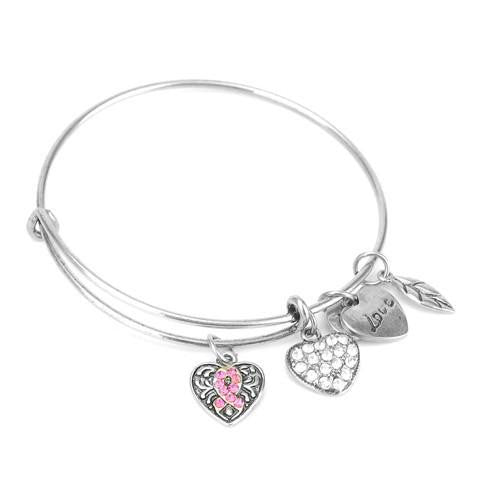 Pink Ribbon Charm Bangle/ Breast Cancer Awareness Jewelry - Bizzy Lizzy