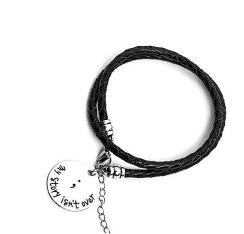 Semicolon Hand Stamped Vegan Leather Bracelet - Bizzy Lizzy