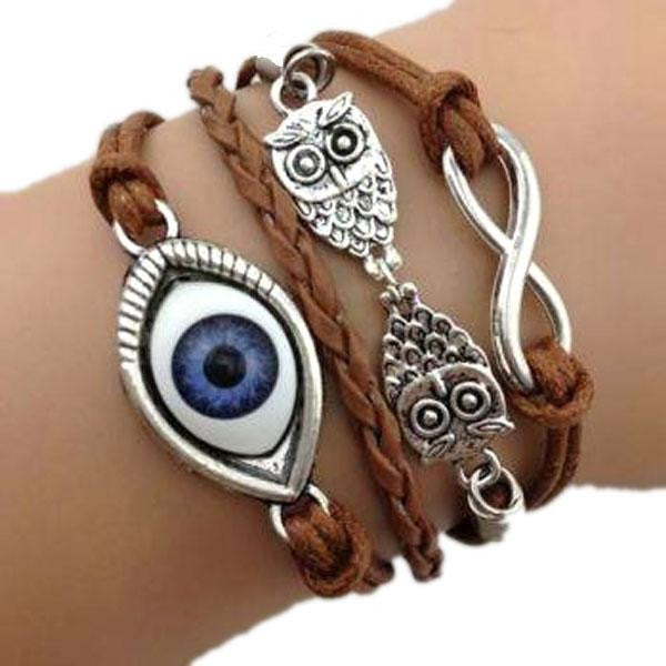 Evil Eye Protector Leather Bracelet - Bizzy Lizzy