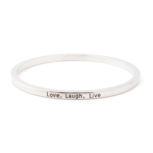 Love Laugh Live Engraved Bangle - Bizzy Lizzy