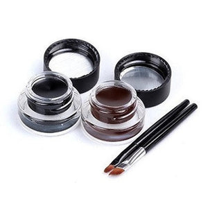 Brown + Black Gel Eyeliner - 2 Bottles & 2 Brushes Per Set - Bizzy Lizzy