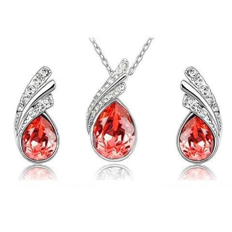 Angel Tear Drop Austrian Crystal Pendant & Earring Set - Bizzy Lizzy