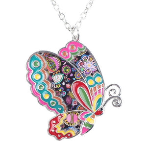 Colorful Butterfly Pendant Necklace - Bizzy Lizzy