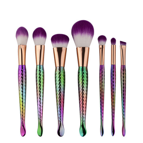 7 Piece Rainbow Mermaid Makeup Brush Set - Bizzy Lizzy