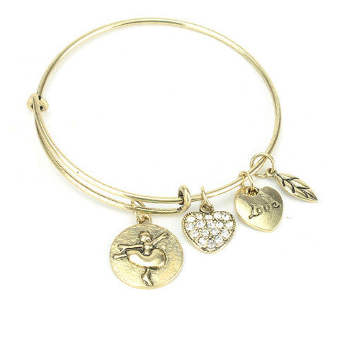 Ballet Love Charm Bangle - Silver or Gold - Bizzy Lizzy