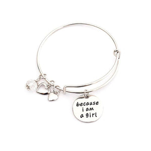 """Because I am a Girl"" Silver Charm Bangle Bracelet; Show Your Girl's Pride! - Bizzy Lizzy"