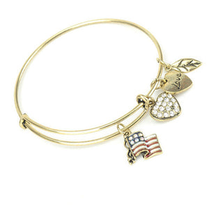 Flag Love Charm Bangle - Silver or Gold - Bizzy Lizzy