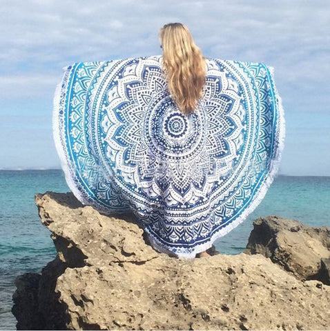 "Mandala Round Beach Towel - Huge 60"" Diameter - Bizzy Lizzy"