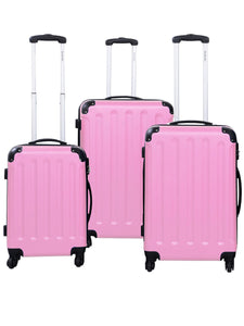Pretty in Pink 3 Piece Luggage Travel Set Bag ABS Trolley Suitcase By Globalway - Bizzy Lizzy