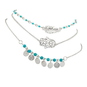 Hamsa Evil Eye Leaf Feather Turquoise Bead BFF Best Friends Forever Anklet Set (3 PC). - Bizzy Lizzy