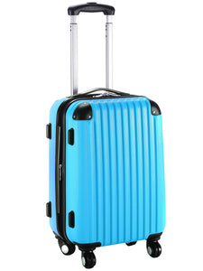 20'' Expandable ABS Carry On Luggage Travel Bag Trolley Suitcase By Globalway, Blue - Bizzy Lizzy