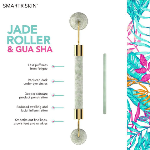Image of Jade Roller for Face with Gua Sha facial tool