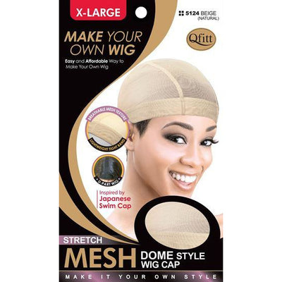 M&M Headgear Qfitt X-Large Beige Stretch Mesh Dome Style Wig Cap #5124