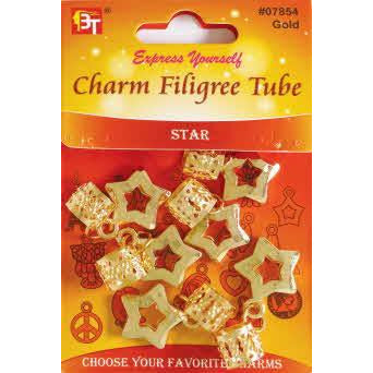 Beauty Town Charm Filigree Tube Star #07854 Gold
