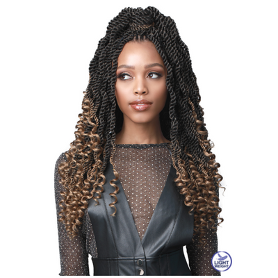 Bobbi Boss Synthetic Crochet Braids - 2X Wavy Senegal Twist Curly Tips 18""