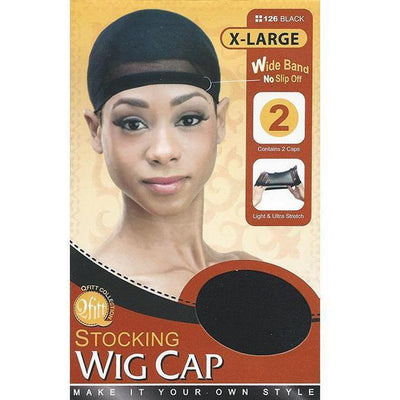 M&M Headgear Qfitt Stocking Wig Cap X-Large Black #126