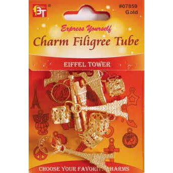 Beauty Town Charm Filigree Tube Eiffel Tower #07859 Gold