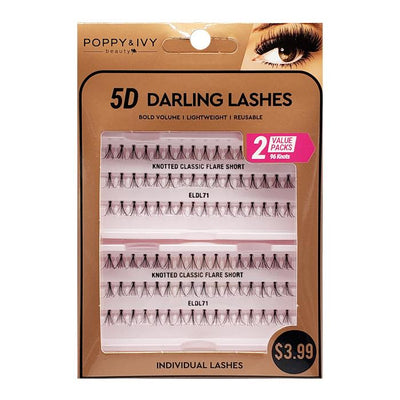 Poppy and Ivy Beauty 5D Darling Individual Lashes - 2X Knotted Classic Flare Short #ELDL71
