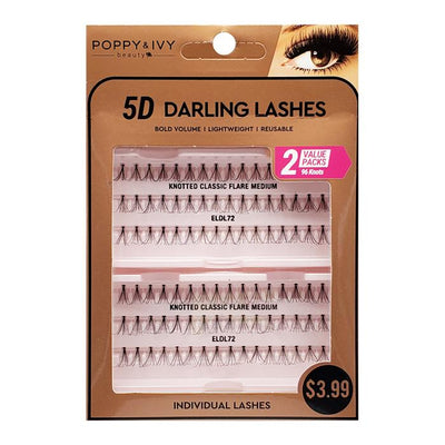 Poppy and Ivy Beauty 5D Darling Individual Lashes - 2X Knotted Classic Flare Medium #ELDL72