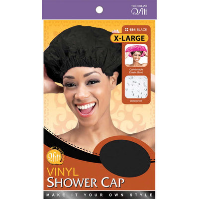M&M Headgear Qfitt XL Vinyl Shower Cap #184 Black