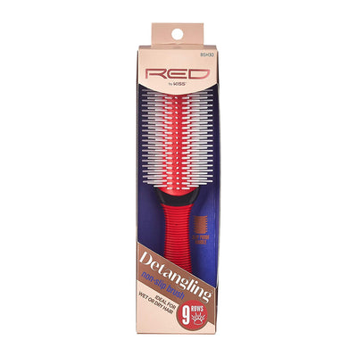Red by Kiss Professional 9 Row Non-Slip Detangling Brush #BSH30
