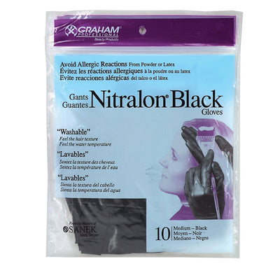 Graham Beauty Powder / Latex Free Nitralon Black Reusable Gloves
