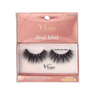 V-Luxe i-envy By Kiss High Volume 25mm Real Mink Eyelashes - VLEC08 Champagne Pink