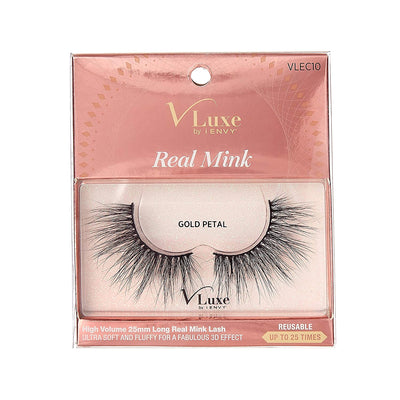 V-Luxe i-envy By Kiss High Volume 25mm Real Mink Eyelashes - VLEC10 Gold Petal