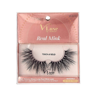 V-Luxe i-envy By Kiss High Volume 25mm Real Mink Eyelashes - VLEC12 Touch Of Gold