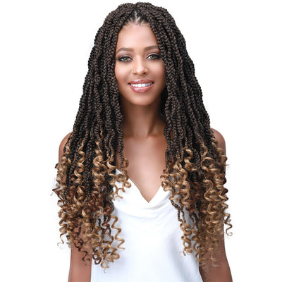 Bobbi Boss Synthetic Crochet Braids - 2X Wavy Senegal Box Braid Curly Tips 18""