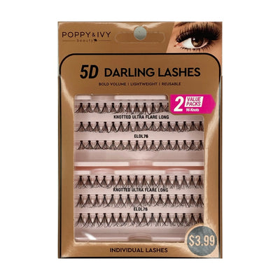 Poppy and Ivy Beauty 5D Darling Individual Lashes - 2X Knotted Ultra Flare Long #ELDL76