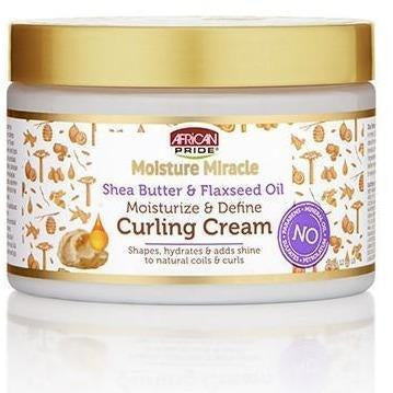 African Pride Moisture Miracle Shea Butter & Flaxseed Oil Moisturize & Define Curling Cream 12 OZ