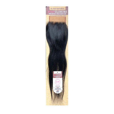 "Janet Collection 9S+ Aliba Natural 100% Virgin Human Hair 4"" x 4"" Lace Closure – Natural Straight 16"""