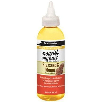 Aunt Jackie's Natural Growth Oil Blends With Flaxseed & Monoi – Nourish My Hair 4 OZ