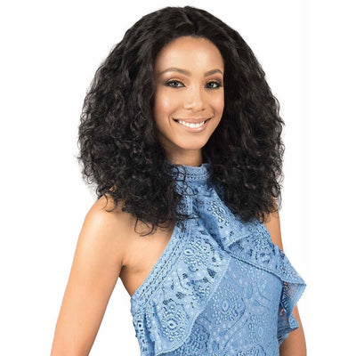 Bobbi Boss 100% Virgin Remy Indi Remi Designer 4 x 4 Swiss Lace Front Wig – Natural Wave 20""