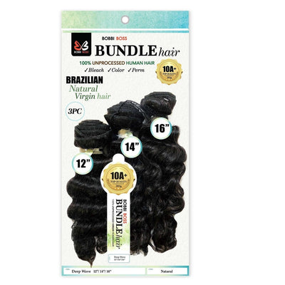 Bobbi Boss 100% Unprocessed Virgin Human Hair Bundle Weave – Deep Wave 3PCS