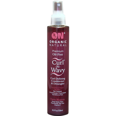 Organic Natural Premium Oil-Free Curl -N- Wavy Curl Defining Conditioner & Detangler Cherry Blossom 8 OZ